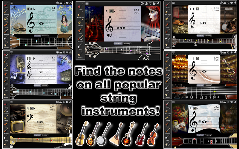 Find the notes on any string instrument and in any notation! Learn and improve the sight reading skills, using this app just a few minutes each day. The app has 2 modes: 1. Notes Explorer 2. Notes Trainer